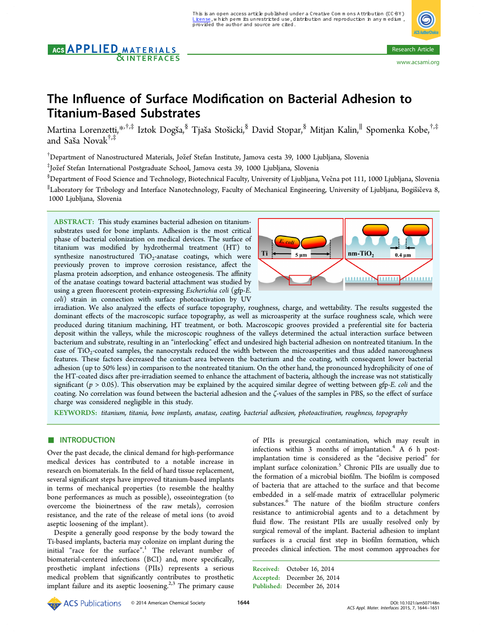 The Influence of Surface Modification on Bacterial Adhesion to