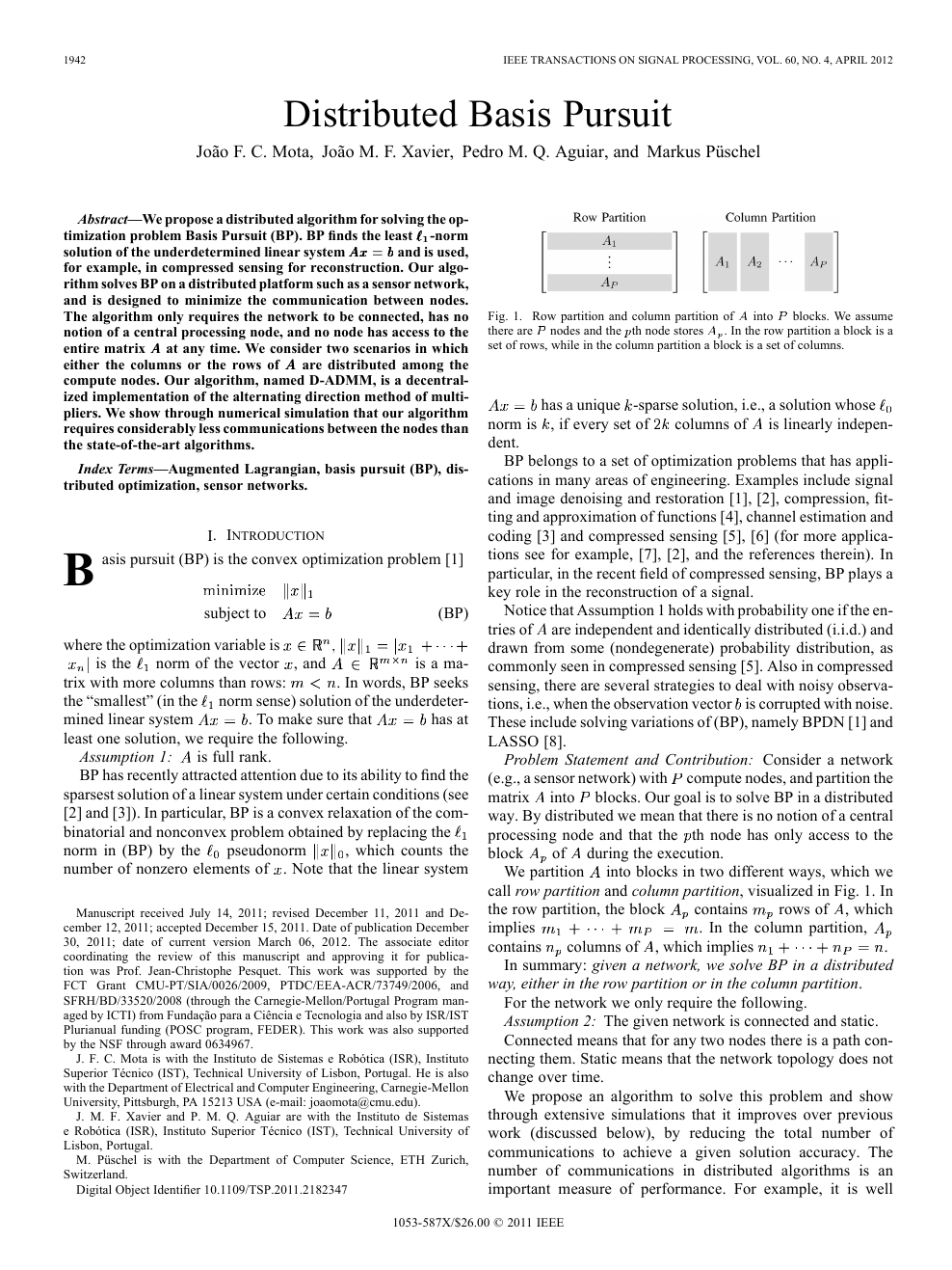 Distributed Basis Pursuit – topic of research paper in