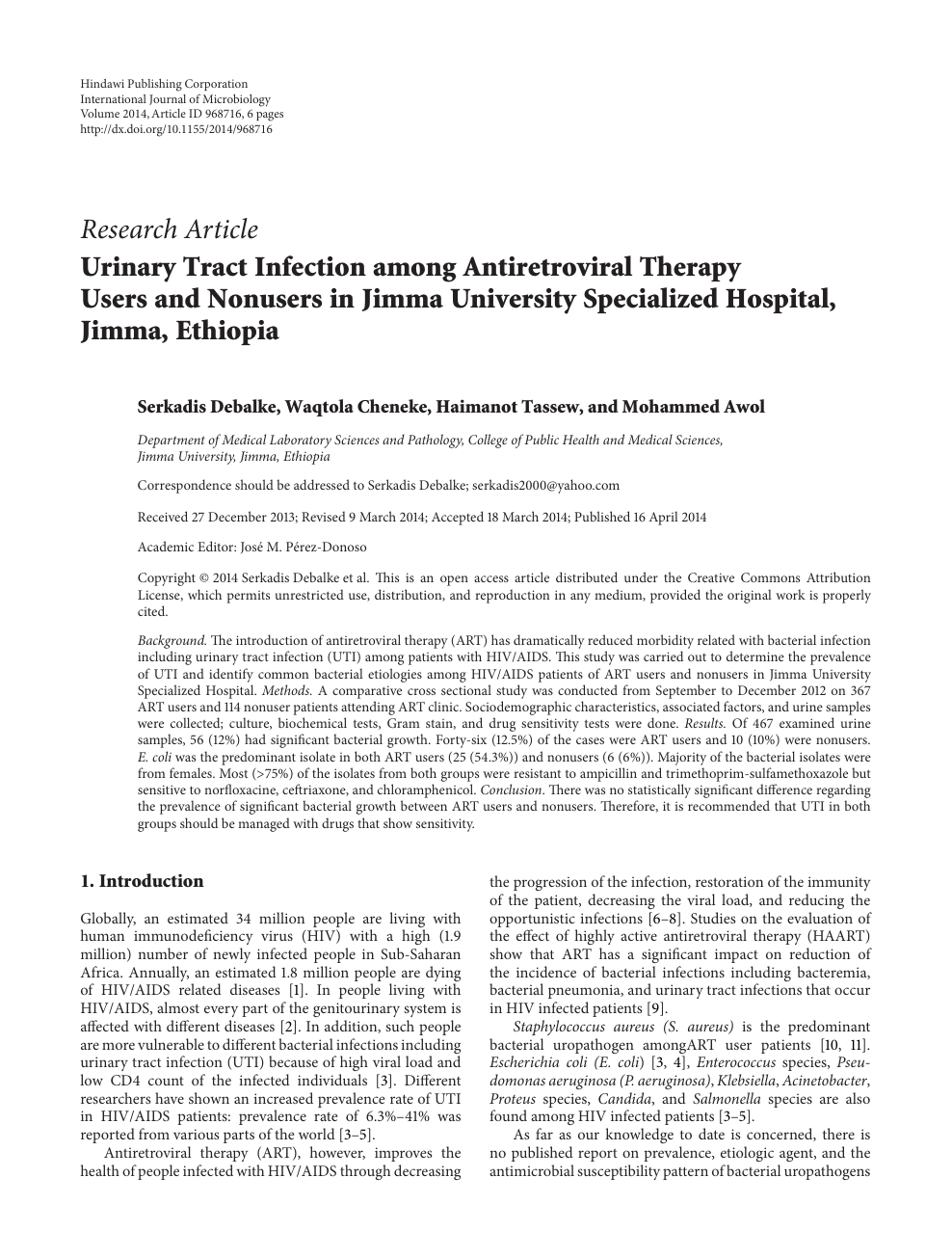 Urinary Tract Infection among Antiretroviral Therapy Users