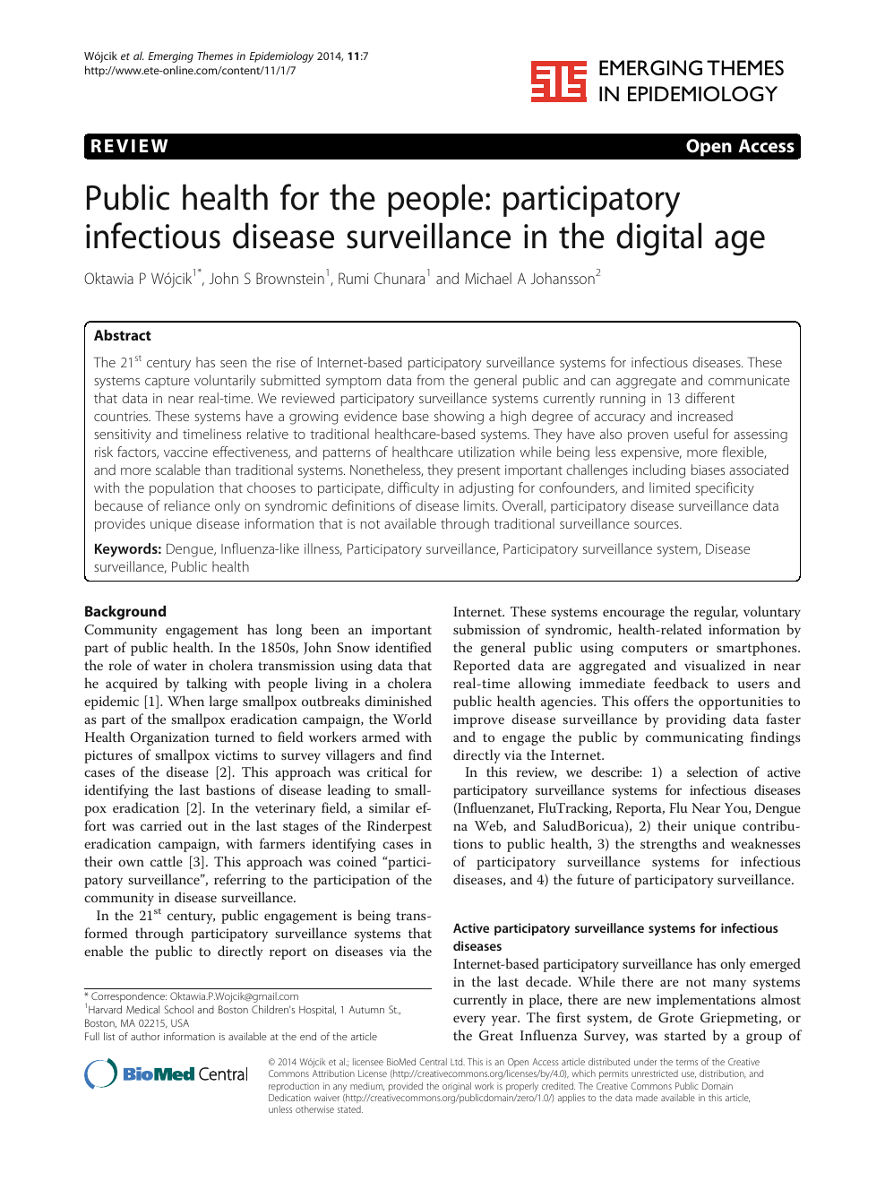 Public health for the people: participatory infectious disease