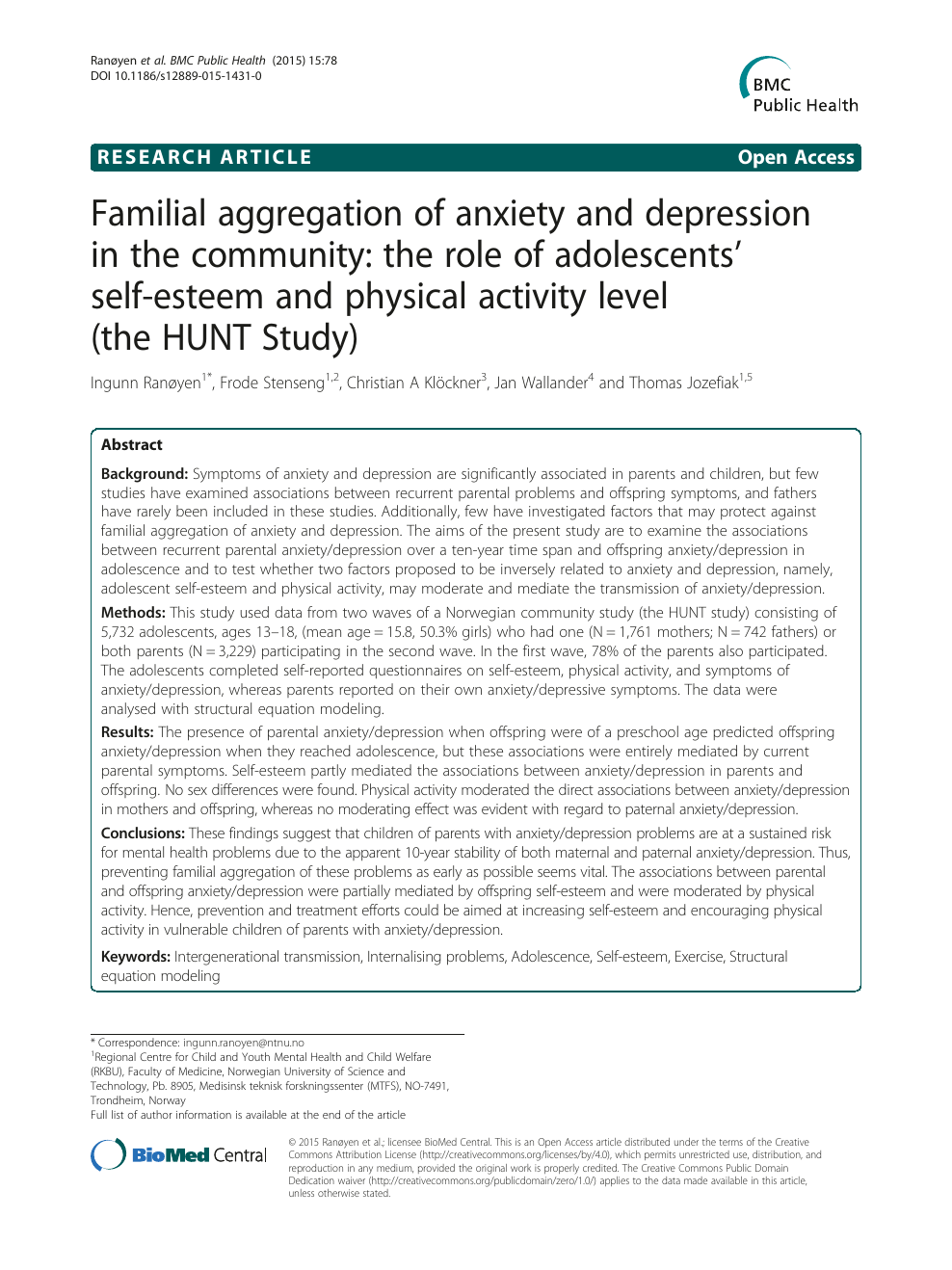 Familial aggregation of anxiety and depression in the