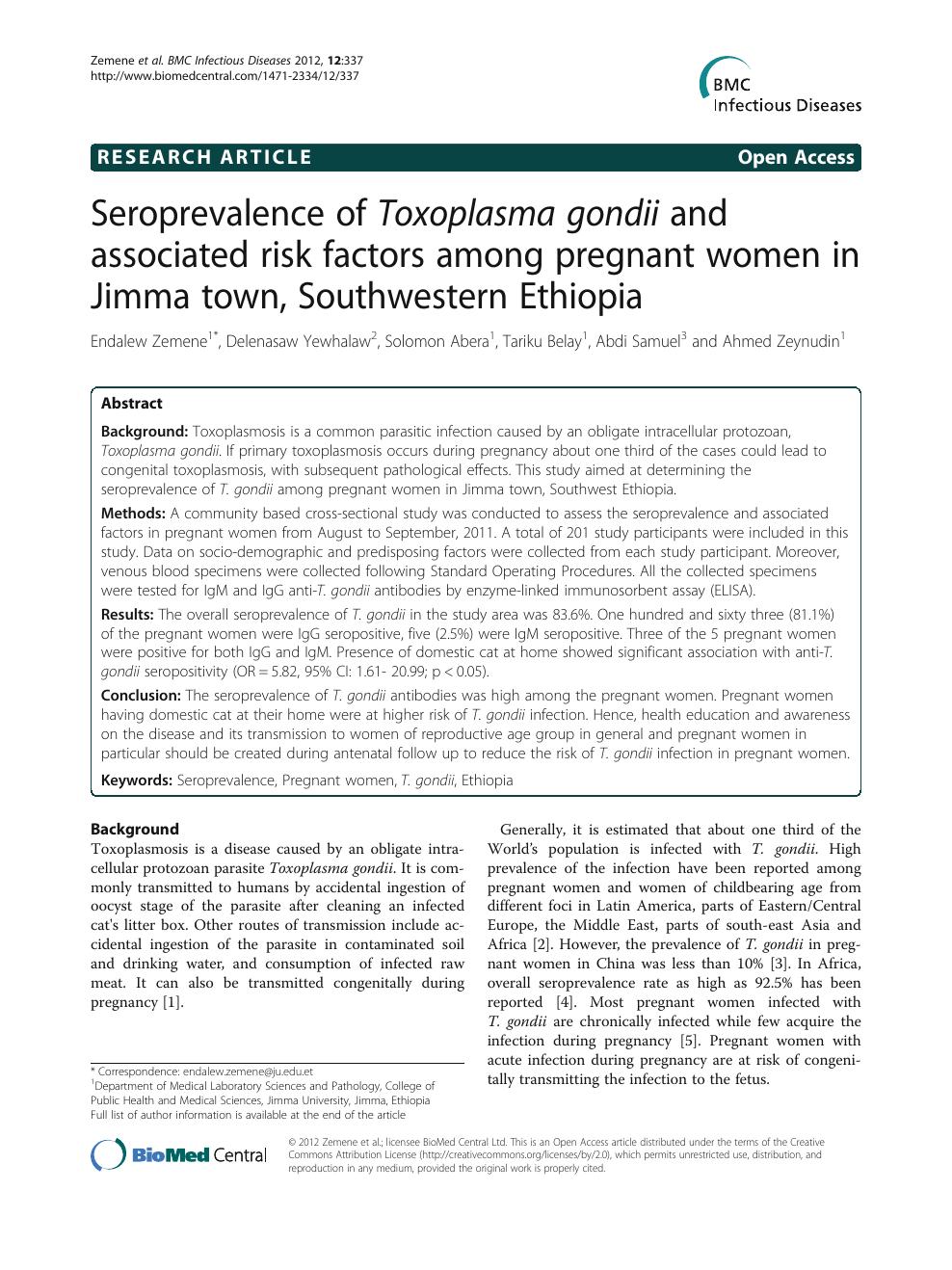Seroprevalence of Toxoplasma gondii and associated risk