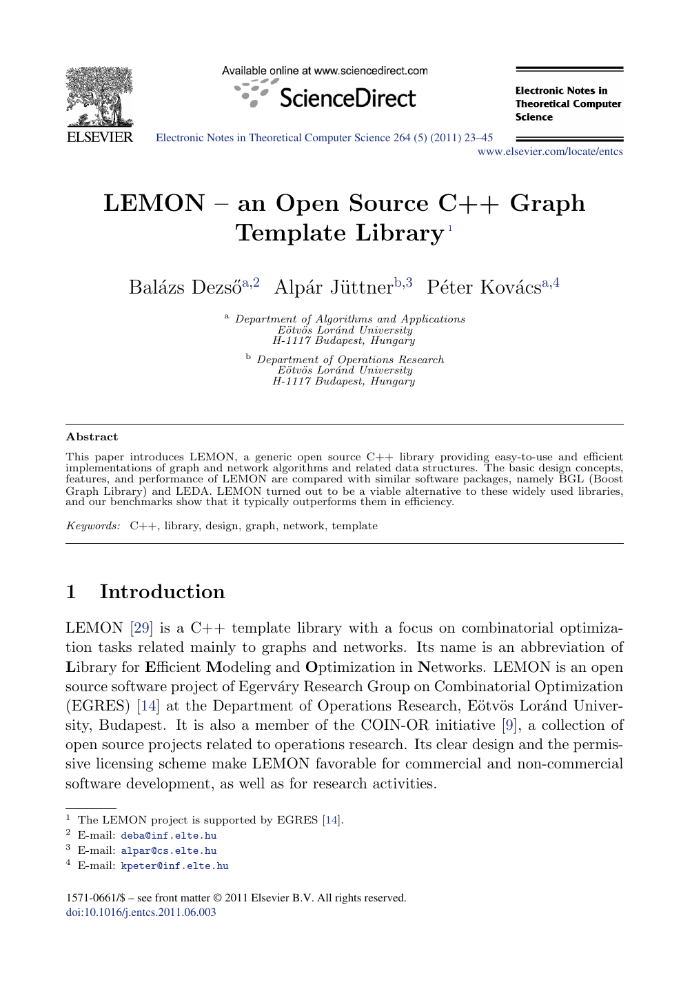 Lemon An Open Source C Graph Template Library Topic Of