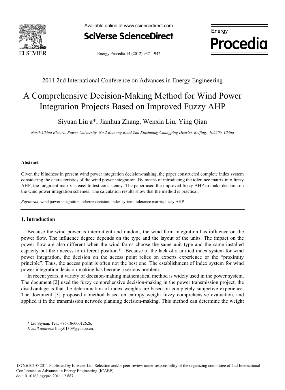 A Comprehensive Decision-Making Method for Wind Power