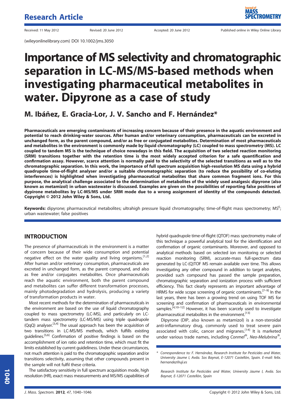 Importance of MS selectivity and chromatographic separation in LC-MS
