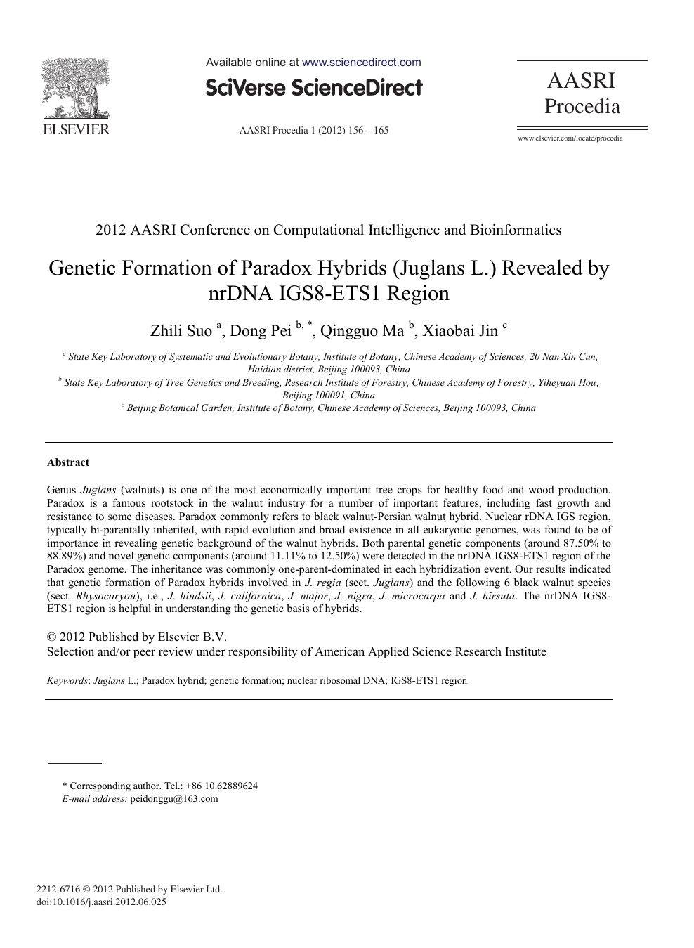 Genetic Formation of Paradox Hybrids (Juglans L ) Revealed