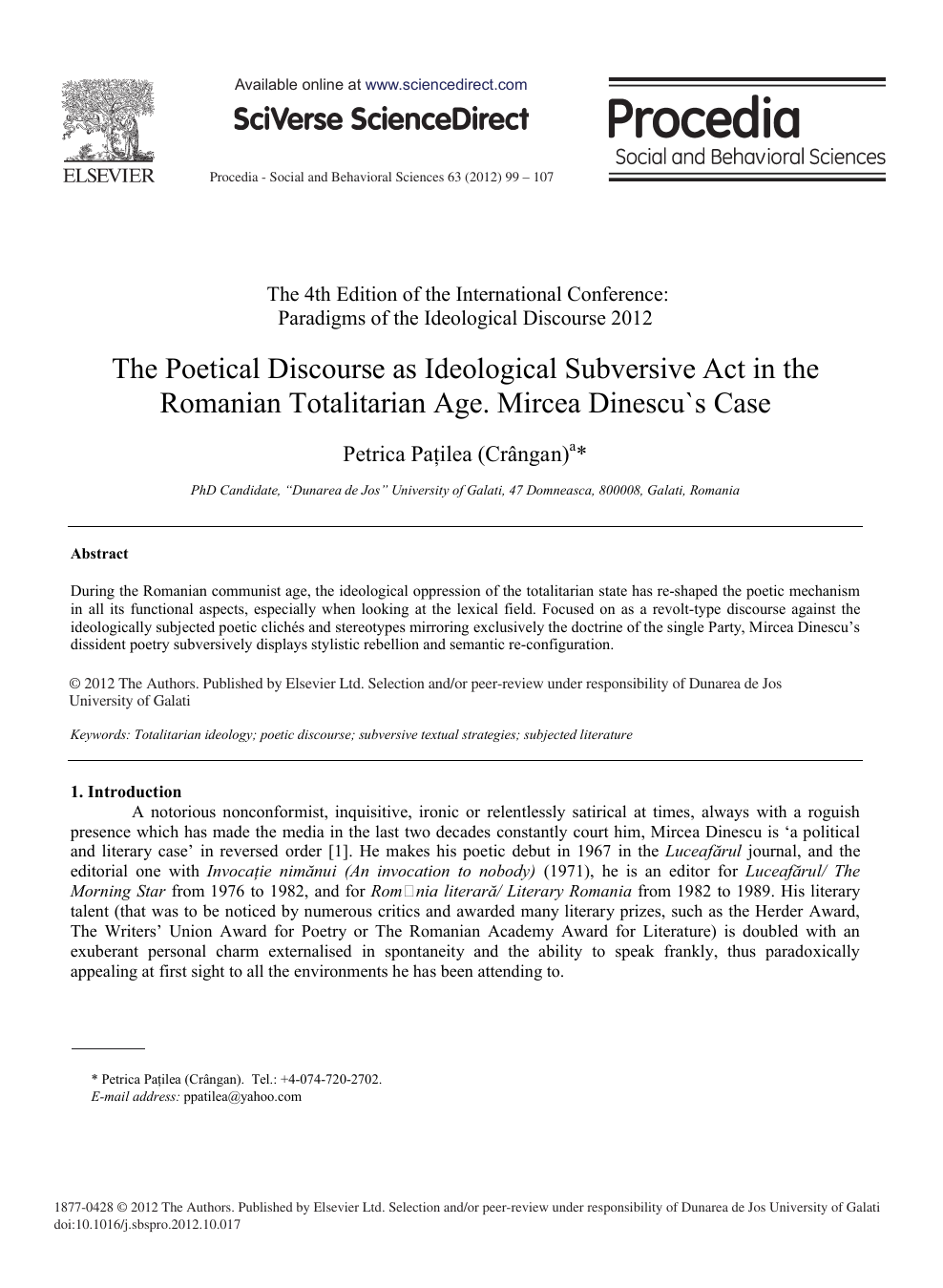 The Poetical Discourse as Ideological Subversive Act in the