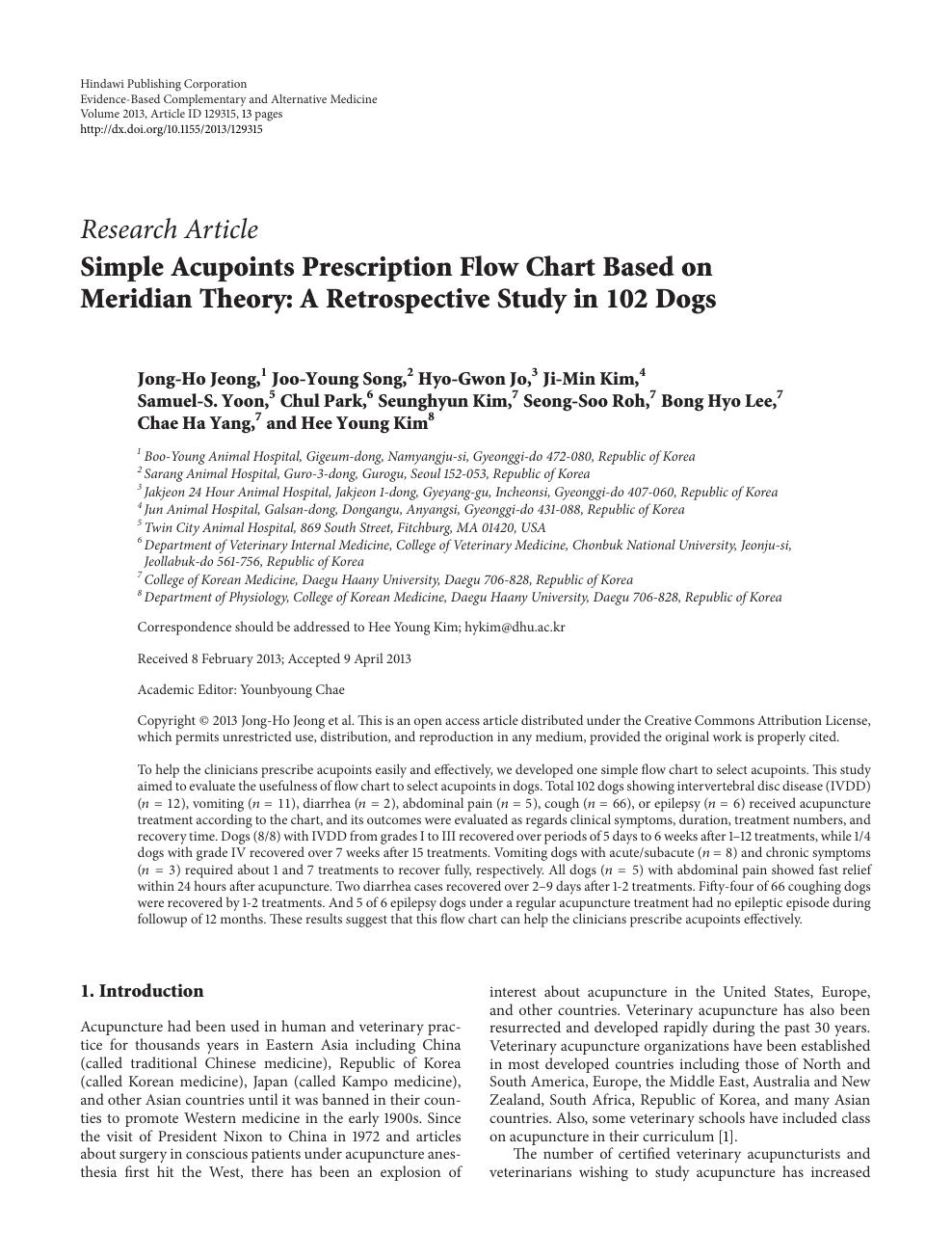 Simple Acupoints Prescription Flow Chart Based on Meridian