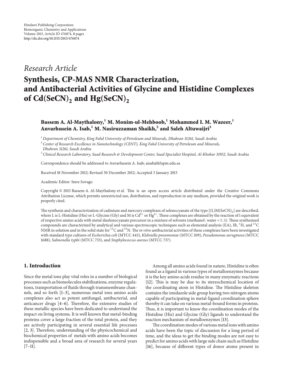 Synthesis, CP-MAS NMR Characterization, and Antibacterial