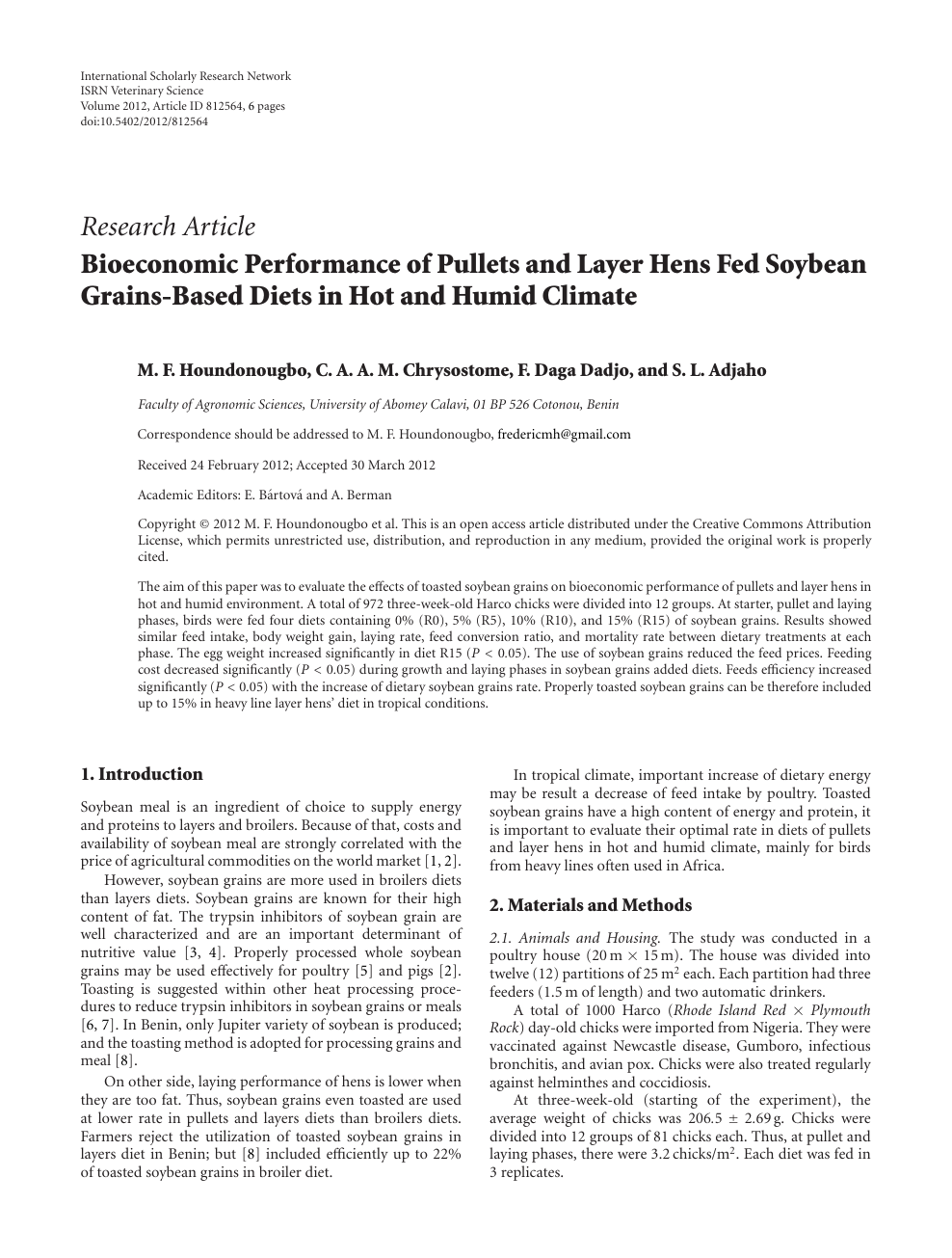 Bioeconomic Performance Of Pullets And Layer Hens Fed