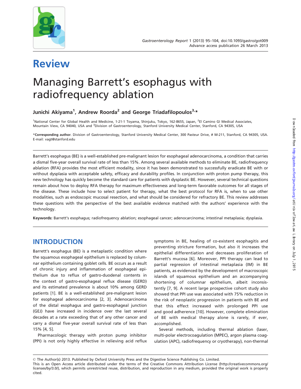 Managing Barrett's esophagus with radiofrequency ablation