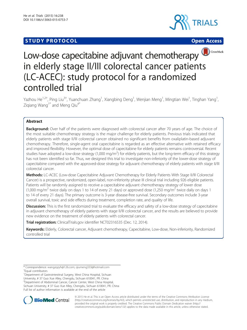 Low Dose Capecitabine Adjuvant Chemotherapy In Elderly Stage Ii Iii Colorectal Cancer Patients Lc Acec Study Protocol For A Randomized Controlled Trial Topic Of Research Paper In Clinical Medicine Download Scholarly Article Pdf And