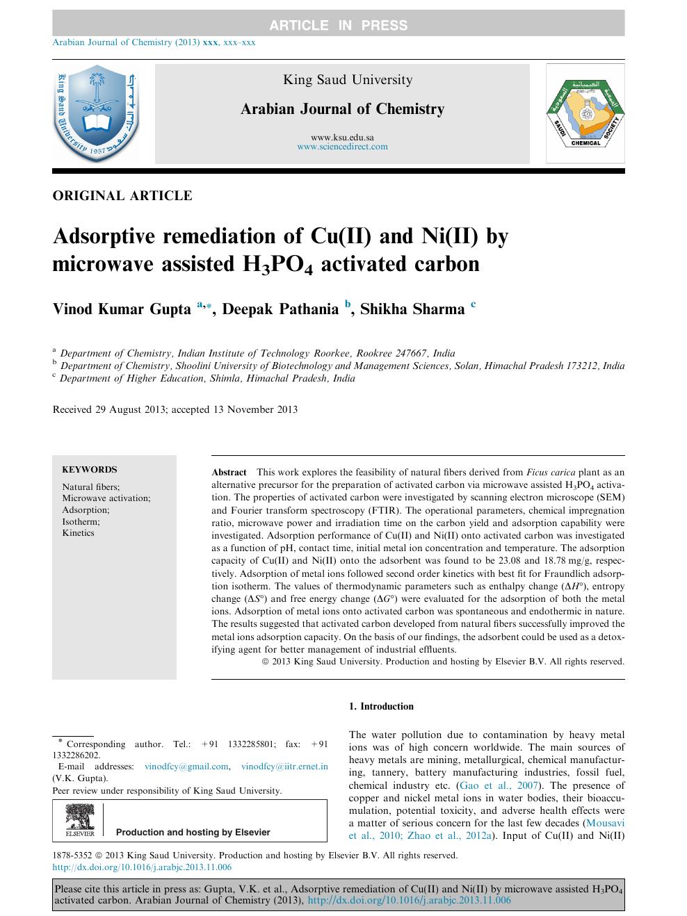 Adsorptive remediation of Cu(II) and Ni(II) by microwave