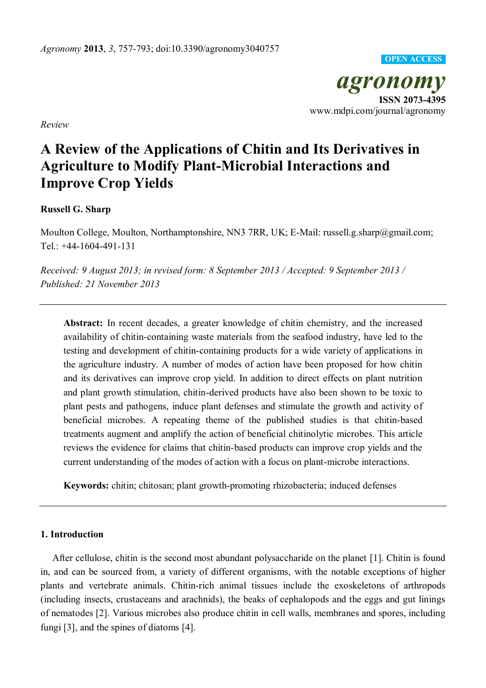 A Review of the Applications of Chitin and Its Derivatives in