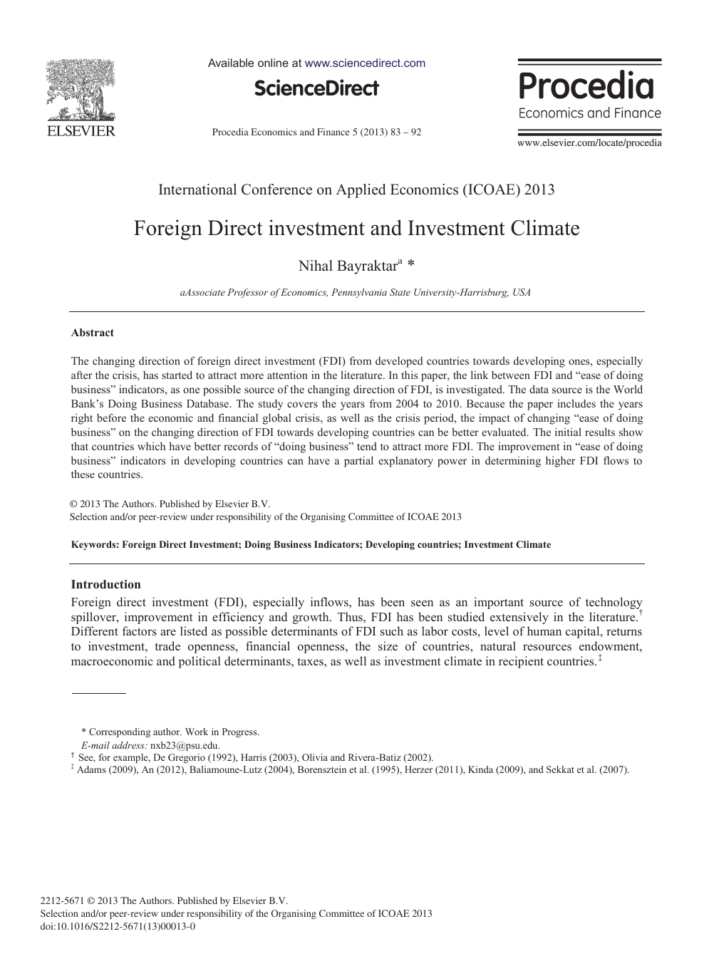 foreign direct investment research paper