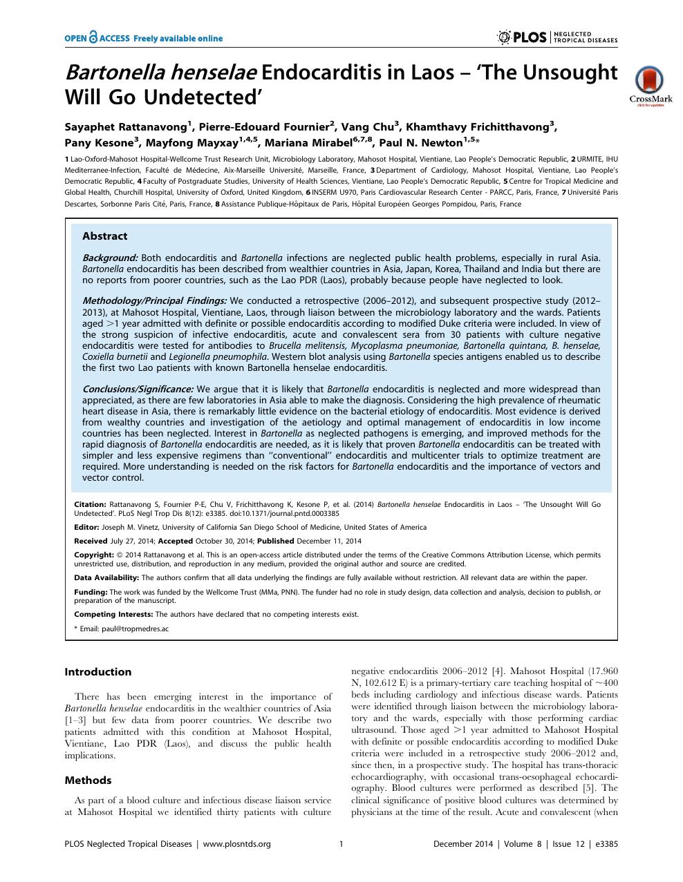 Bartonella henselae Endocarditis in Laos – 'The Unsought