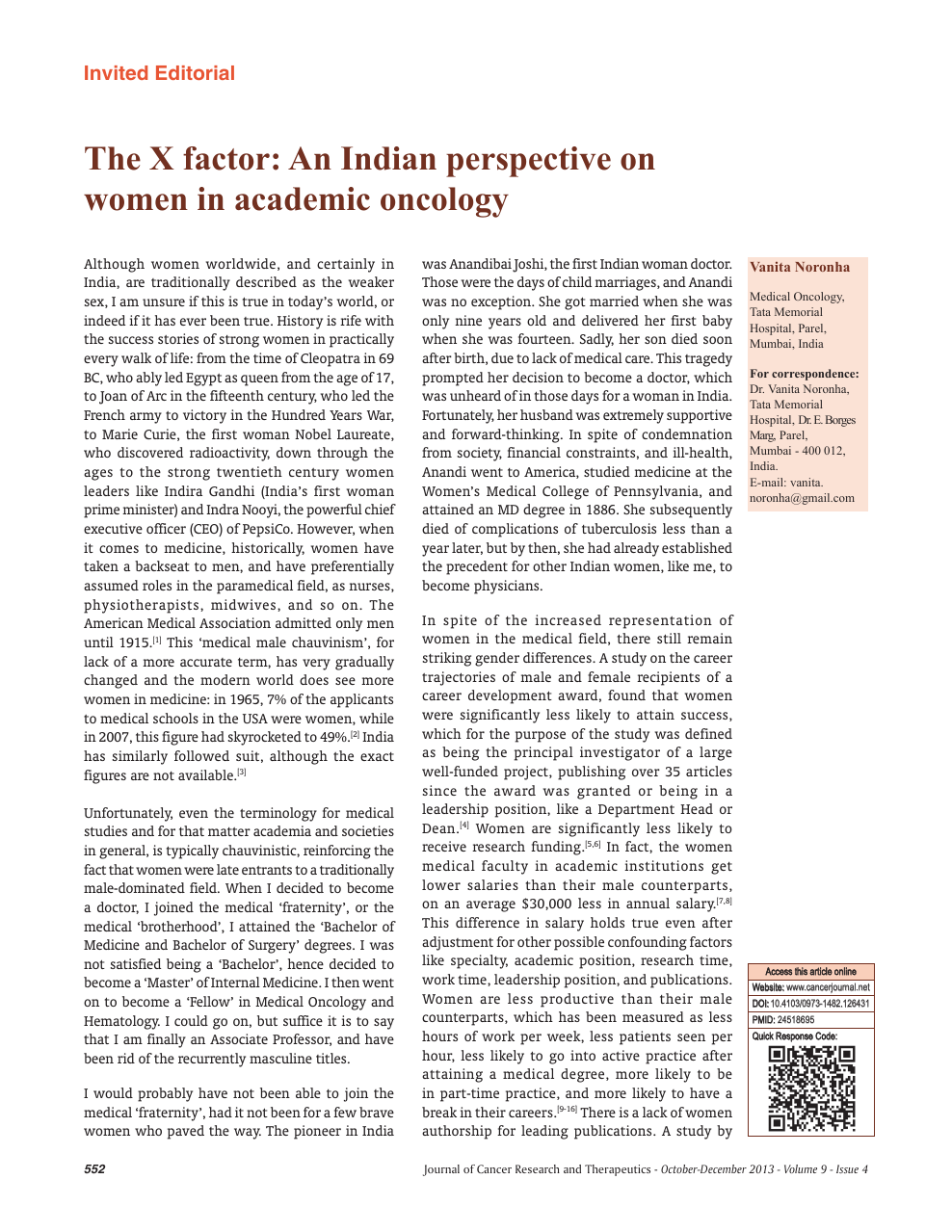 The X factor: An Indian perspective on women in academic