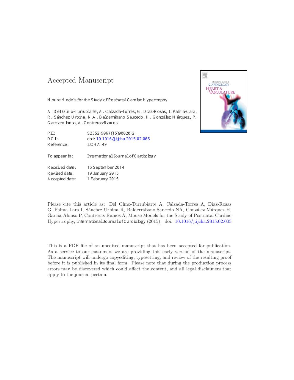 Mouse models for the study of postnatal cardiac hypertrophy