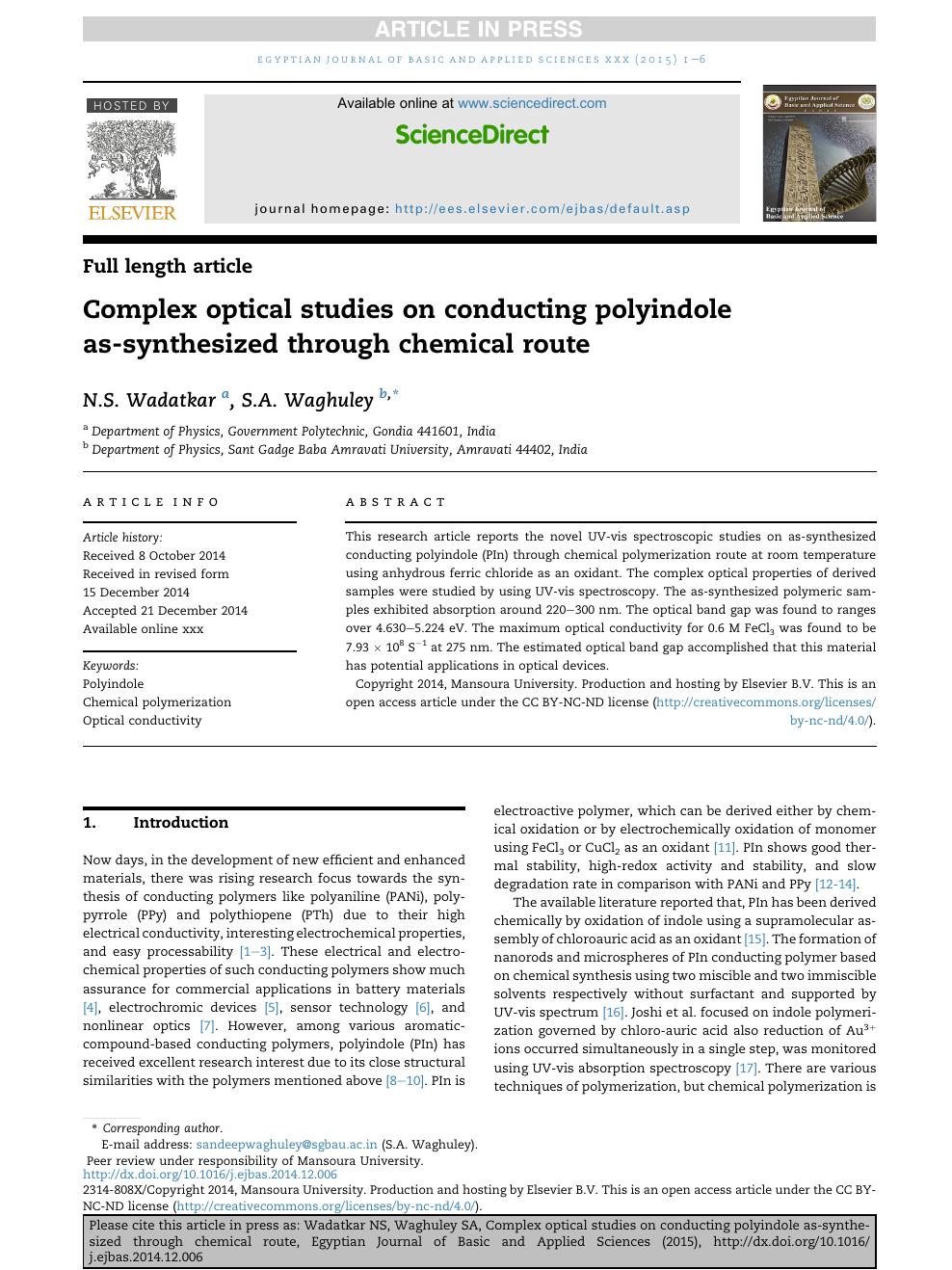 Complex optical studies on conducting polyindole as