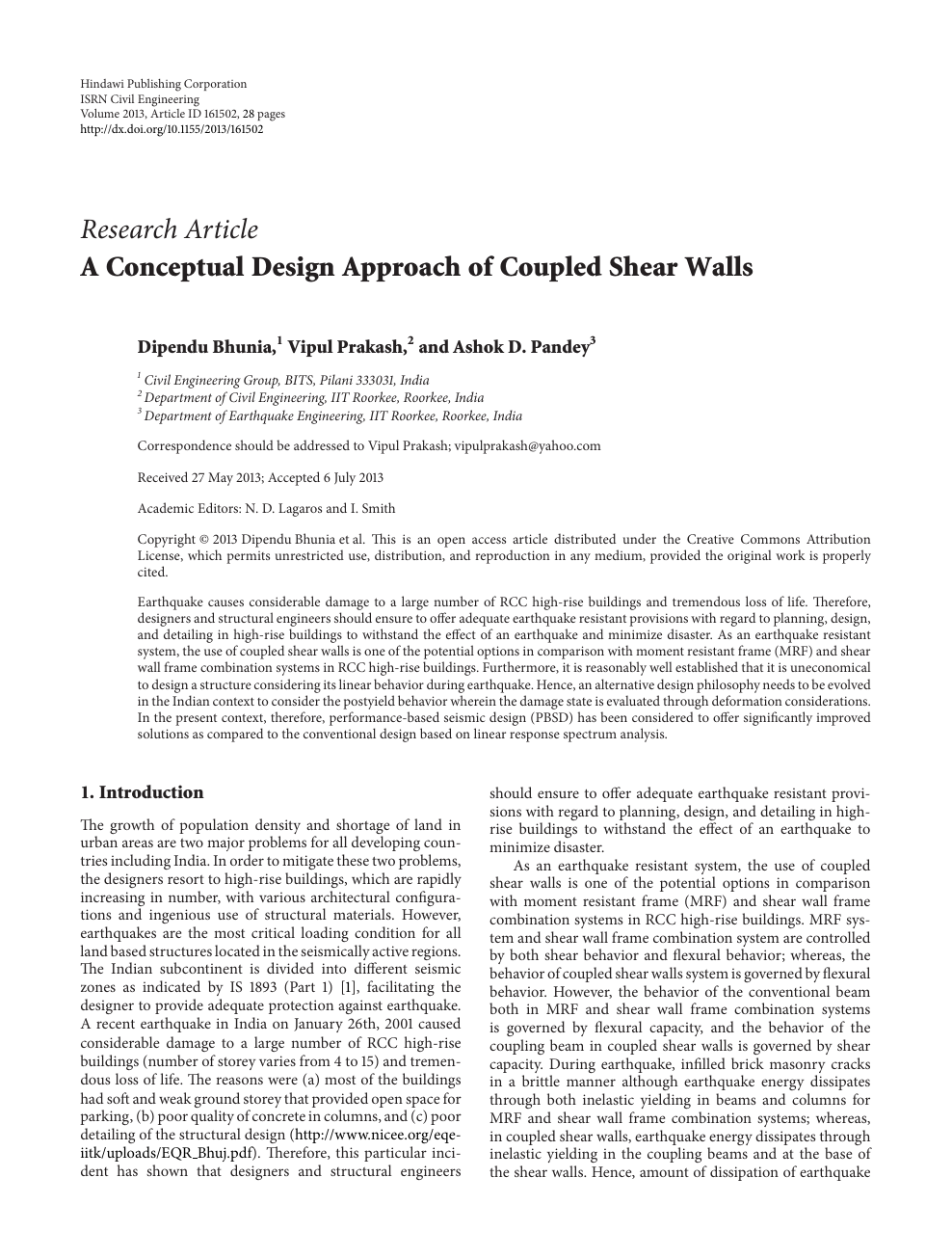 A Conceptual Design Approach of Coupled Shear Walls – topic of