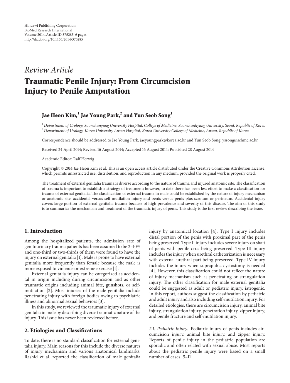 Traumatic Penile Injury: From Circumcision Injury to Penile
