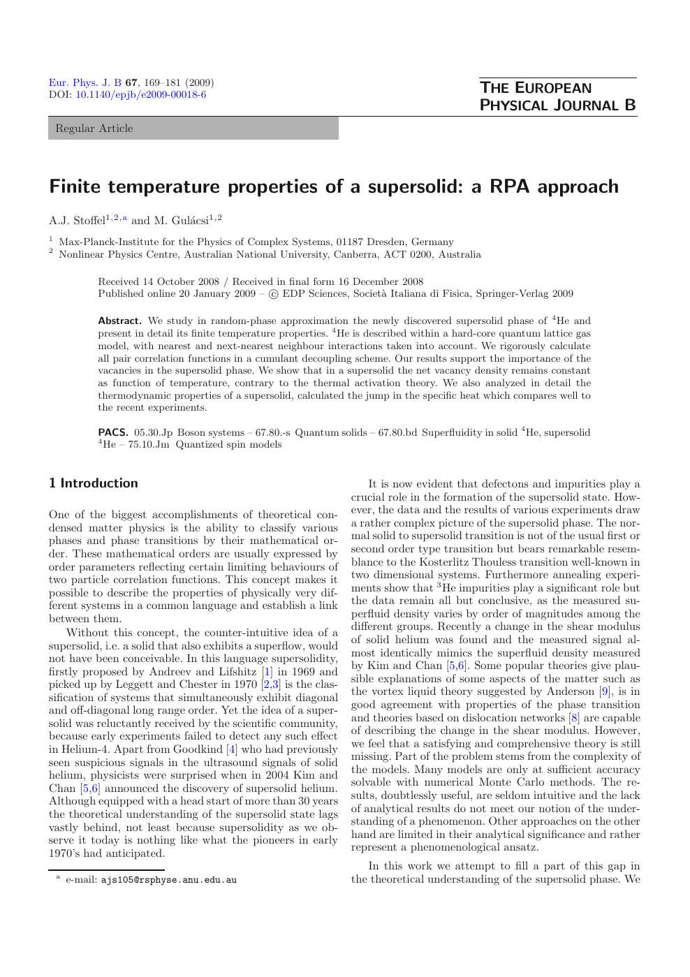 Finite temperature properties of a supersolid: a RPA