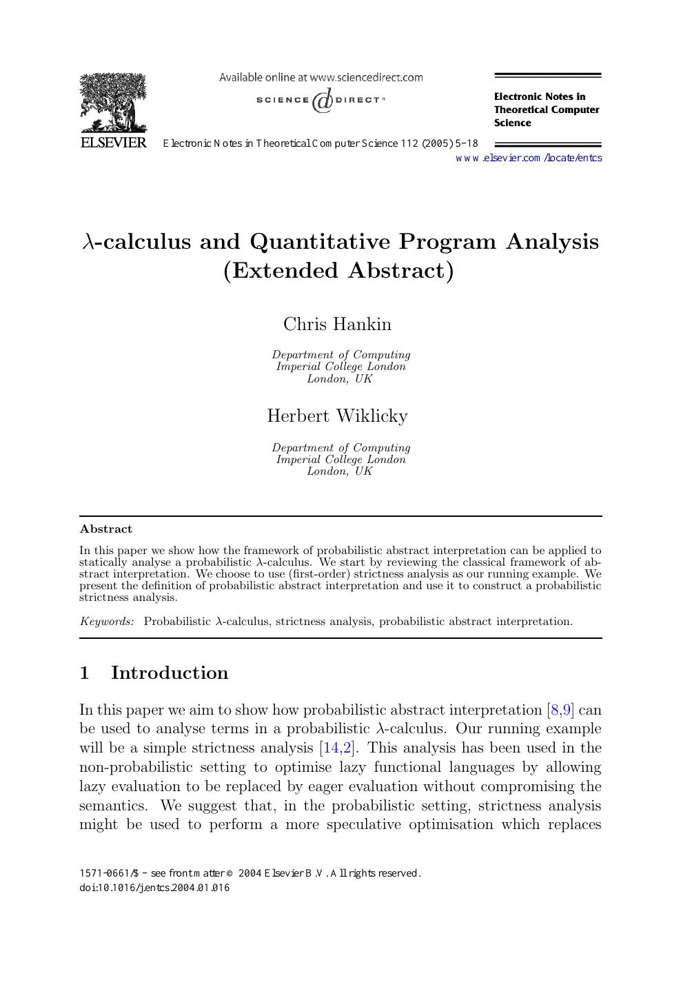 L Calculus And Quantitative Program Analysis Topic Of