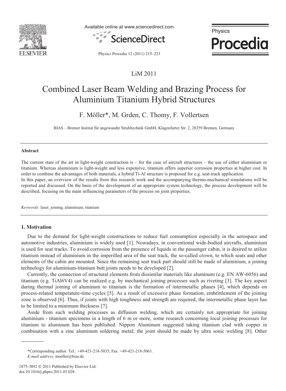 Combined Laser Beam Welding And Brazing Process For Aluminium Titanium Hybrid Structures Topic Of Research Paper In Materials Engineering Download Scholarly Article Pdf And Read For Free On Cyberleninka Open Science