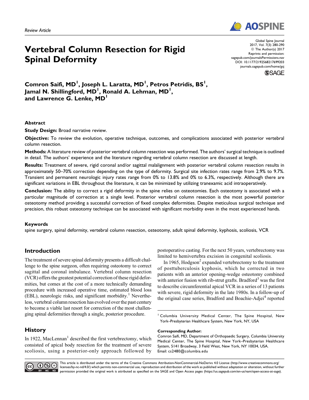 Vertebral Column Resection for Rigid Spinal Deformity – topic of