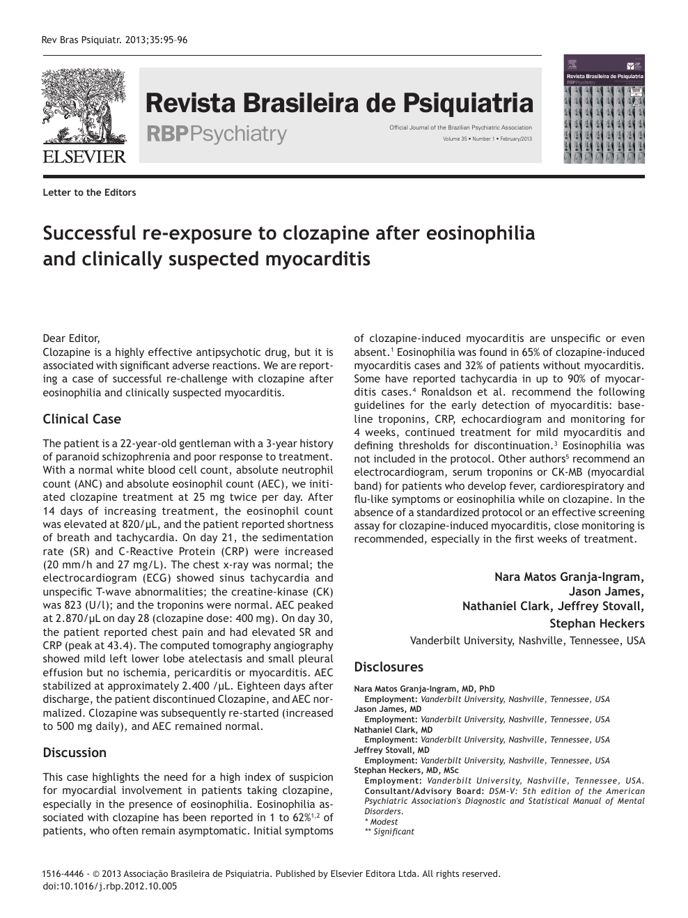 Successful Re-exposure to Clozapine after Eosinophilia and