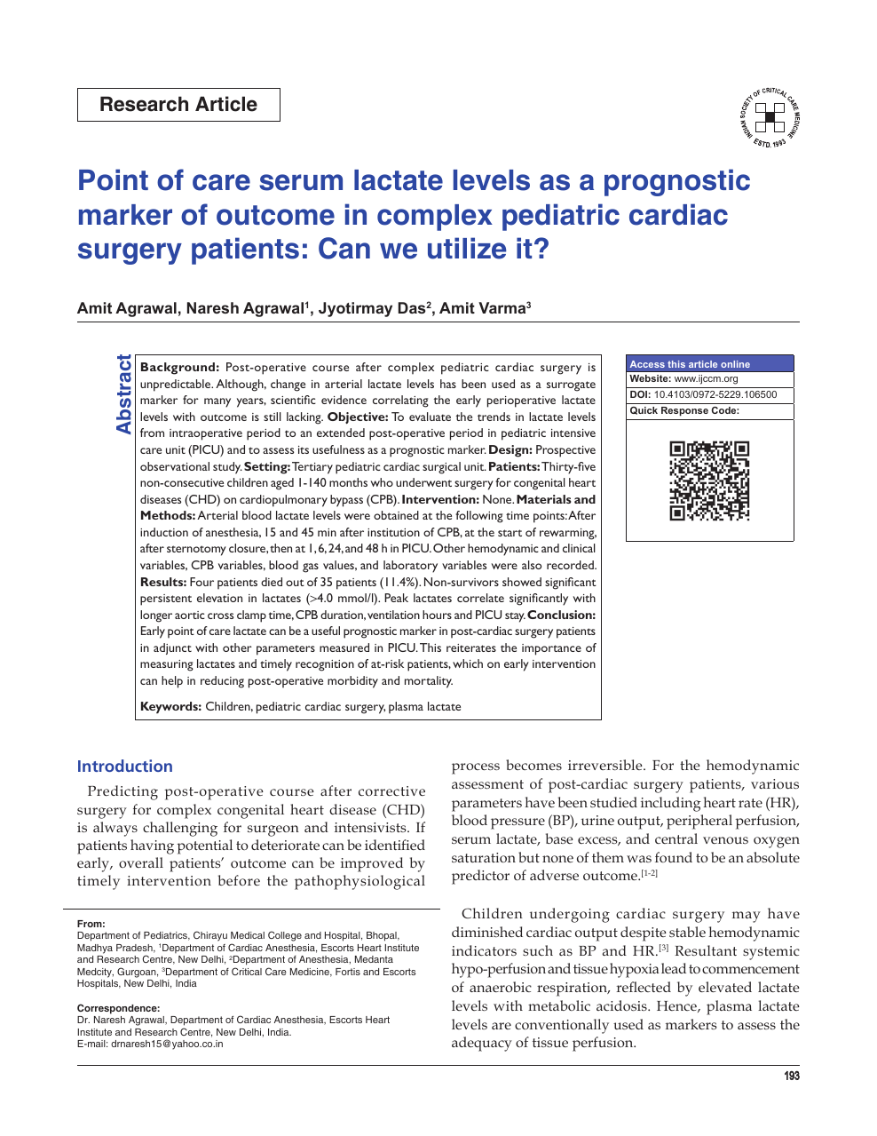 Point Of Care Serum Lactate Levels As A Prognostic Marker Of Outcome In Complex Pediatric Cardiac Surgery Patients Can We Utilize It Topic Of Research Paper In Clinical Medicine Download Scholarly
