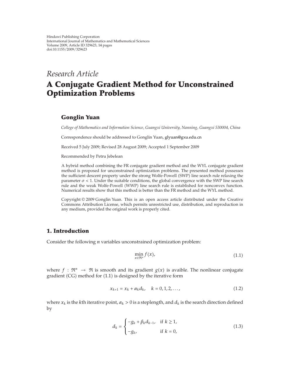 A Conjugate Gradient Method for Unconstrained Optimization