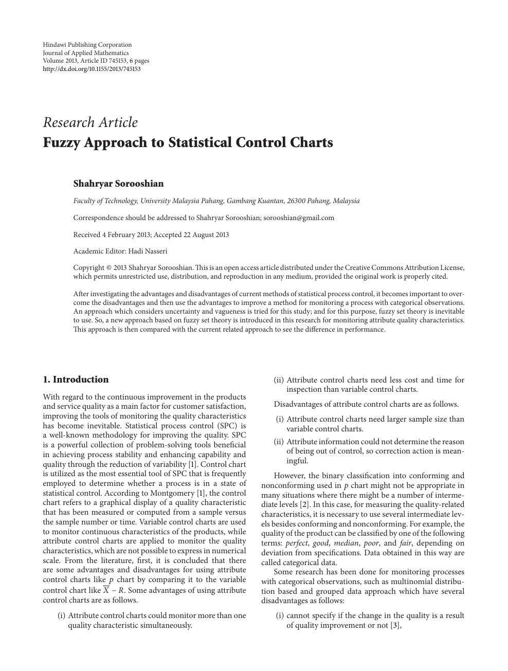 Fuzzy Approach to Statistical Control Charts – topic of