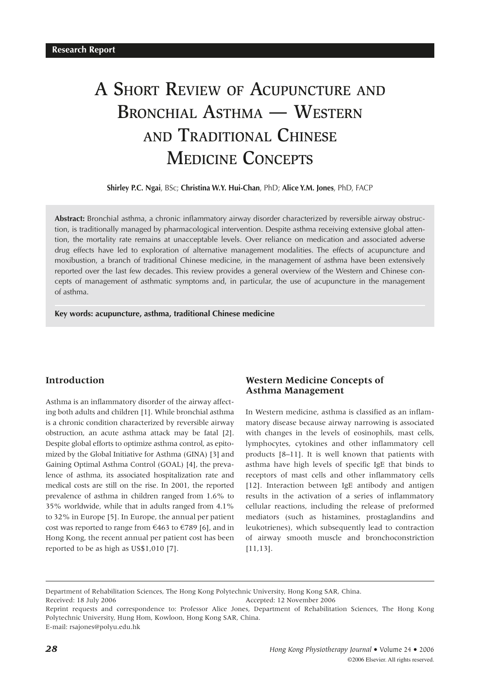 A Short Review of Acupuncture and Bronchial Asthma — Western and