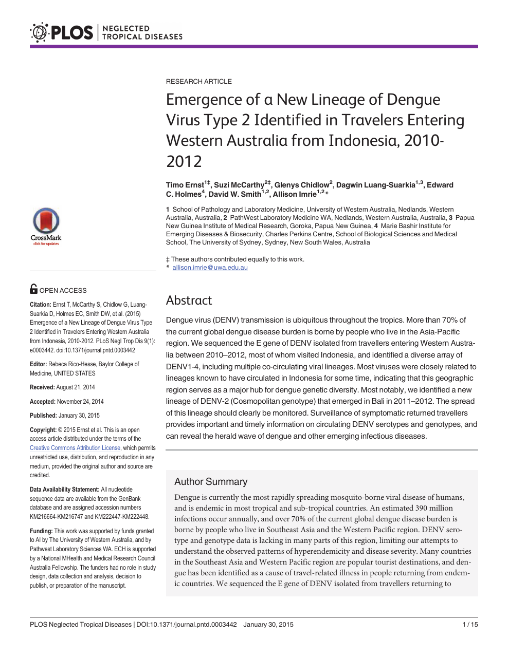 Emergence of a New Lineage of Dengue Virus Type 2 Identified