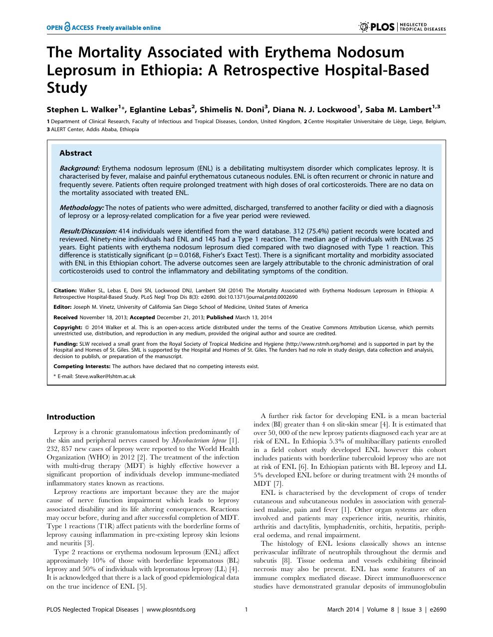 The Mortality Associated with Erythema Nodosum Leprosum in
