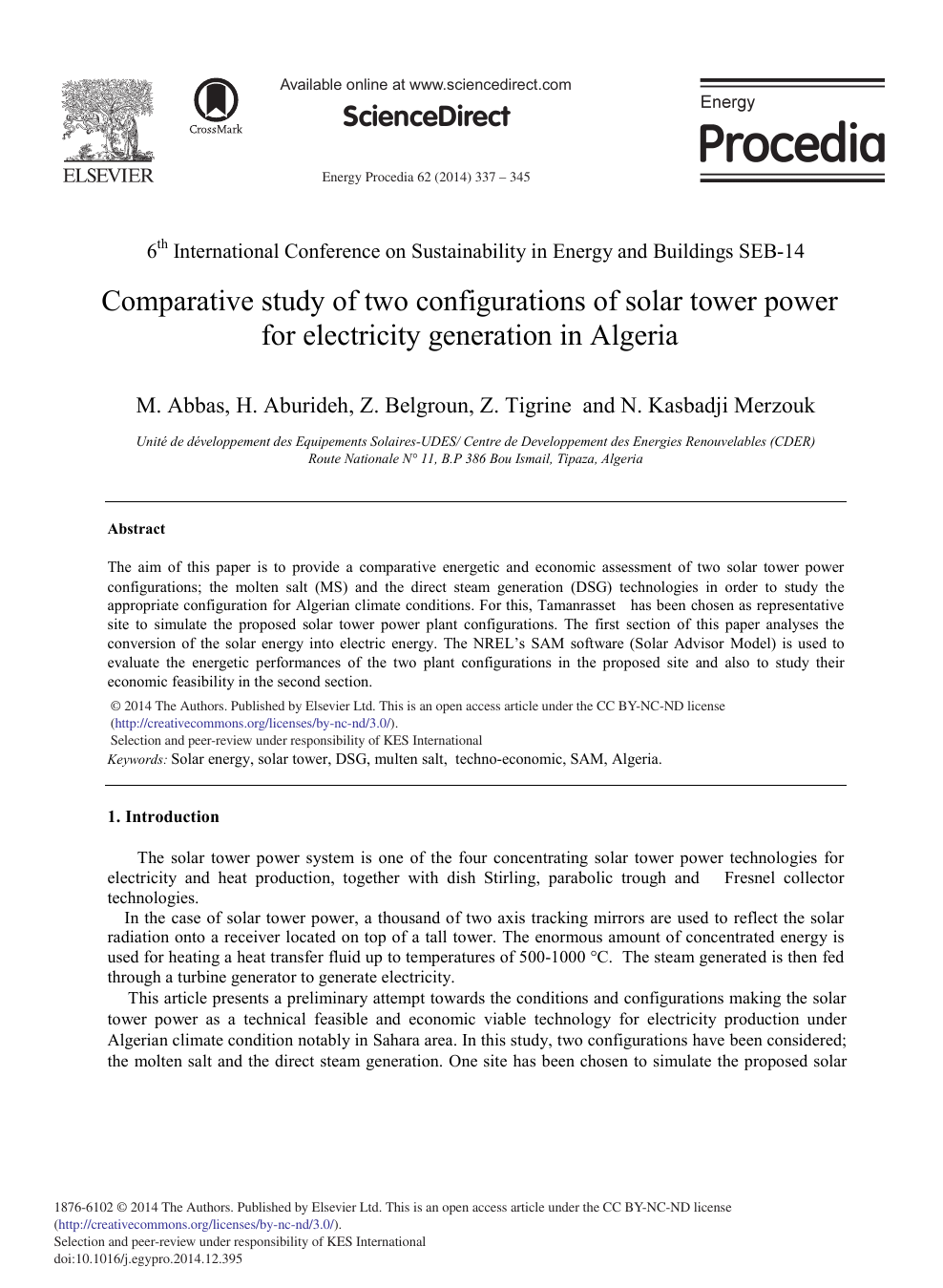 Comparative Study of Two Configurations of Solar Tower Power