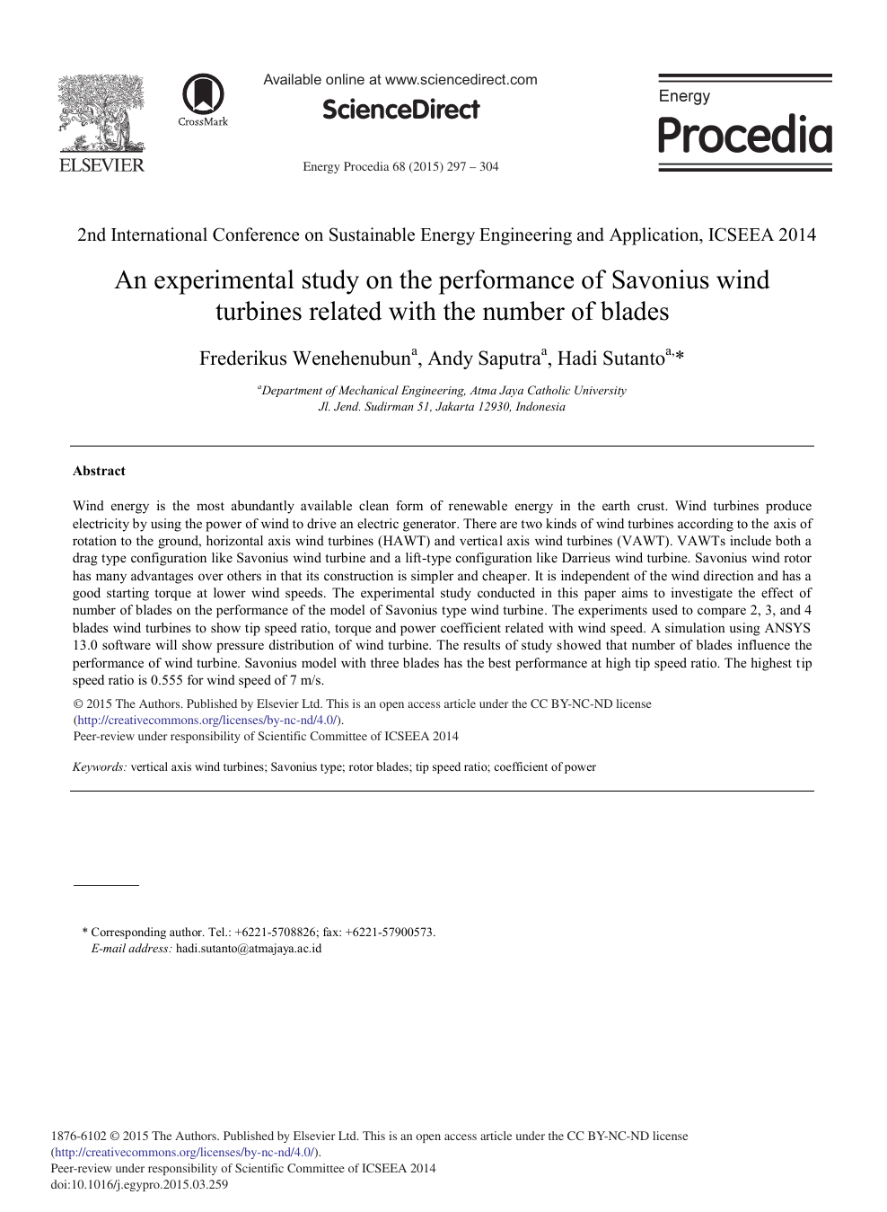 An Experimental Study on the Performance of Savonius Wind