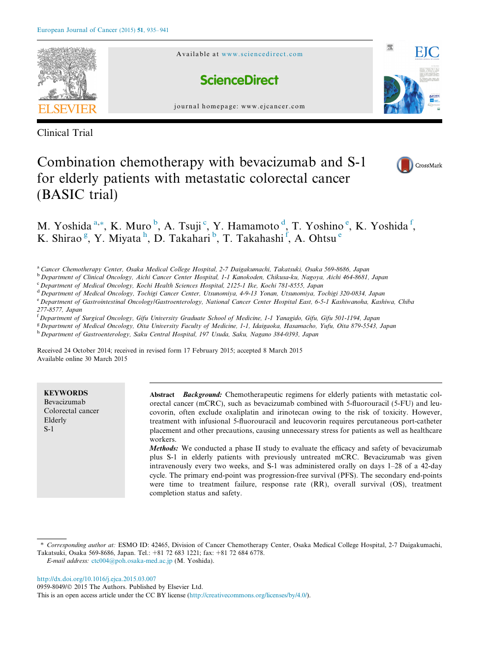 Combination Chemotherapy With Bevacizumab And S 1 For Elderly Patients With Metastatic Colorectal Cancer Basic Trial Topic Of Research Paper In Clinical Medicine Download Scholarly Article Pdf And Read For Free On