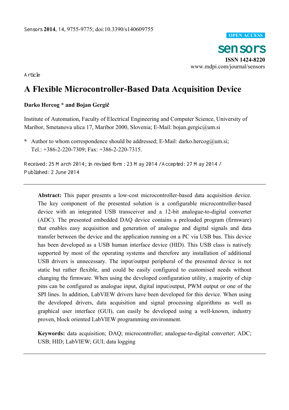 A Flexible Microcontroller-Based Data Acquisition Device