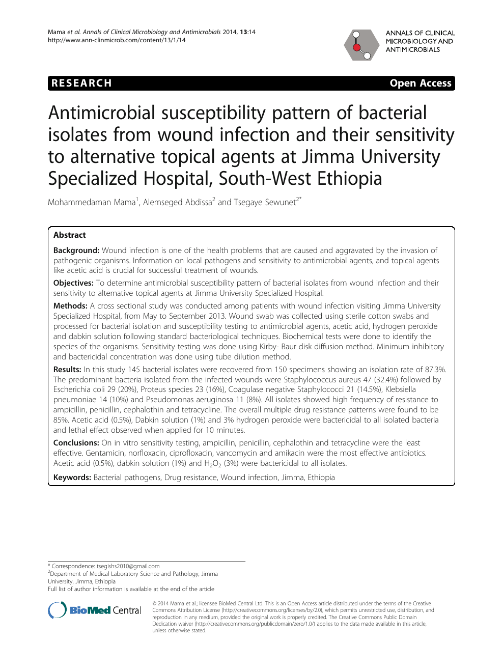 Antimicrobial susceptibility pattern of bacterial isolates
