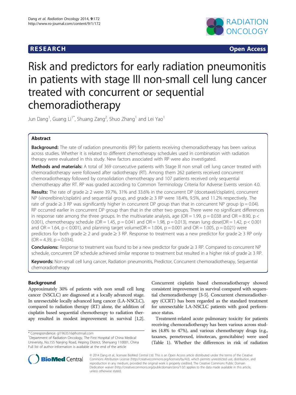 Risk and predictors for early radiation pneumonitis in
