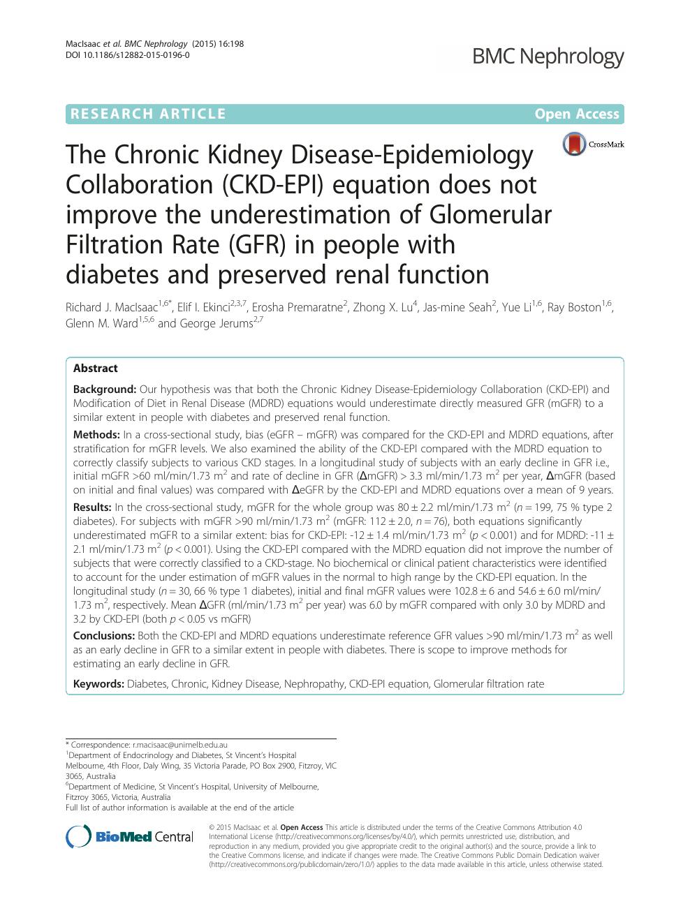 The Chronic Kidney Disease-Epidemiology Collaboration (CKD