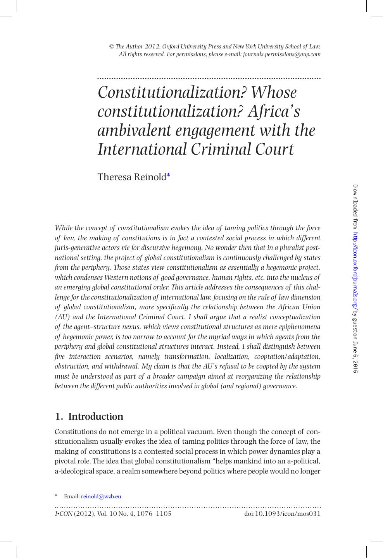 Constitutionalization? Whose constitutionalization? Africa's