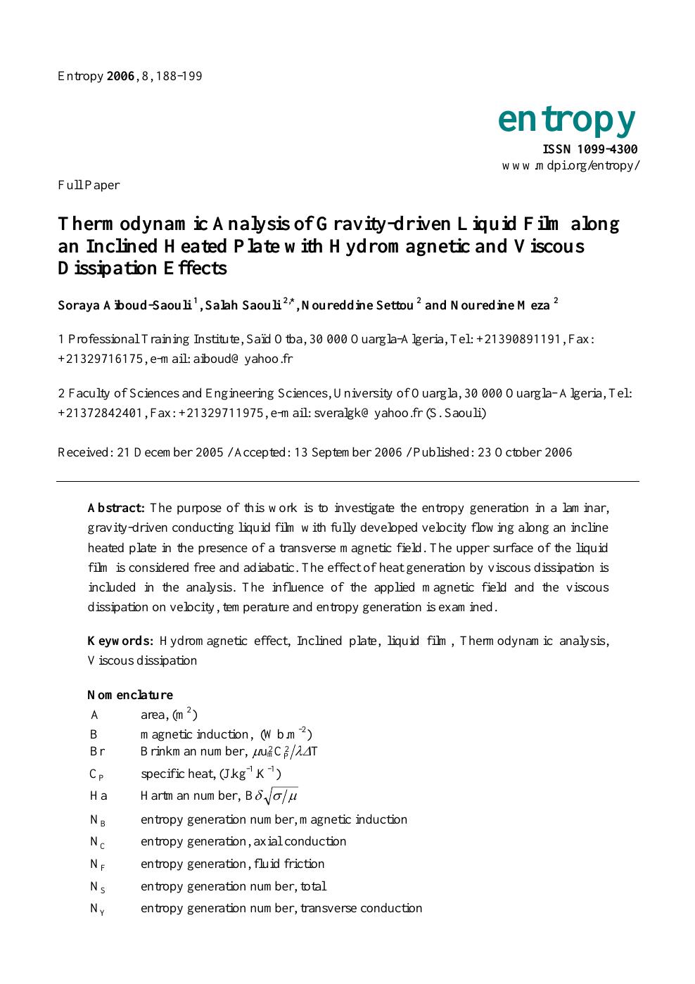 Thermodynamic Analysis of Gravity-driven Liquid Film along