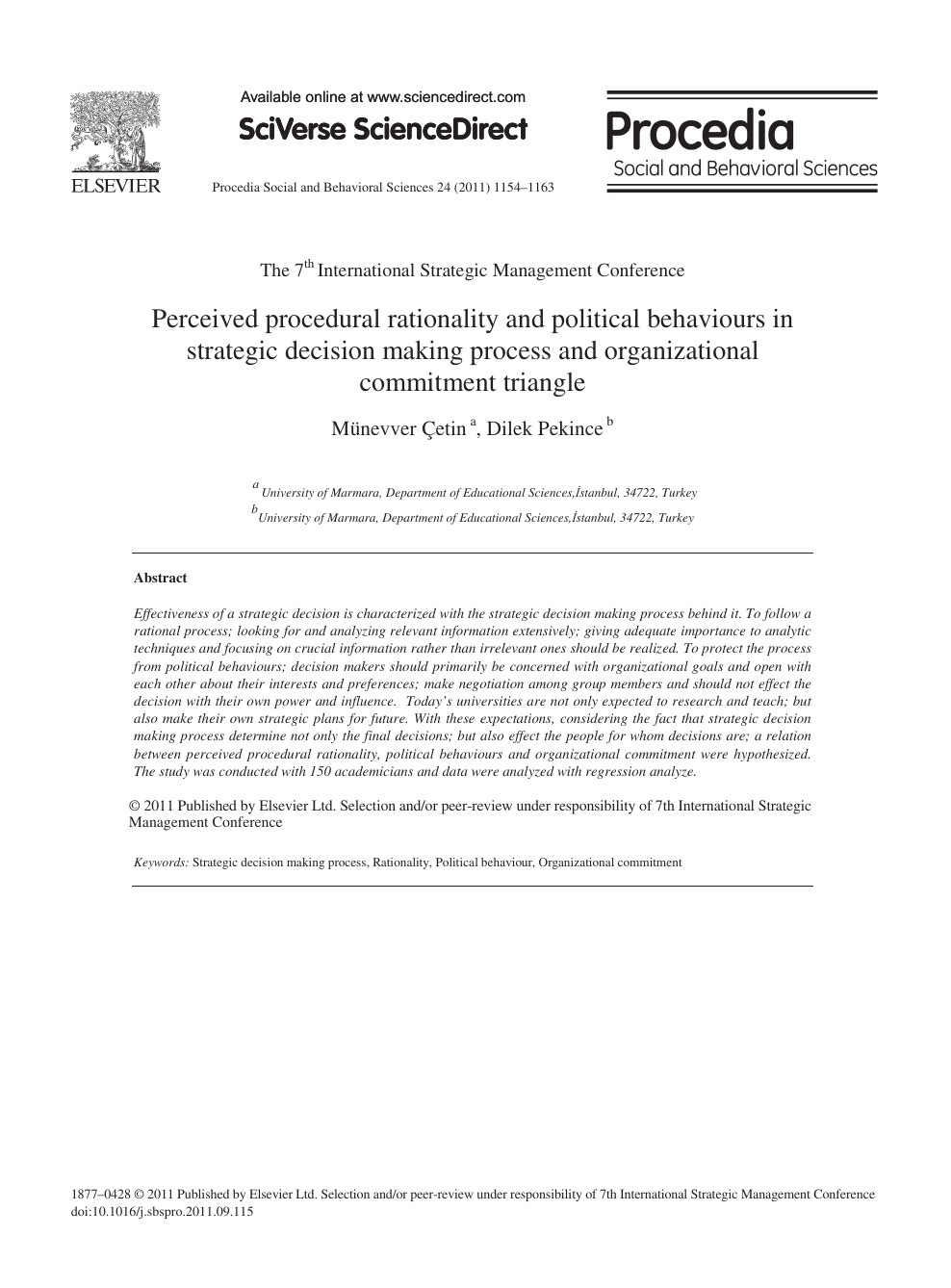 Perceived procedural rationality and political behaviours in