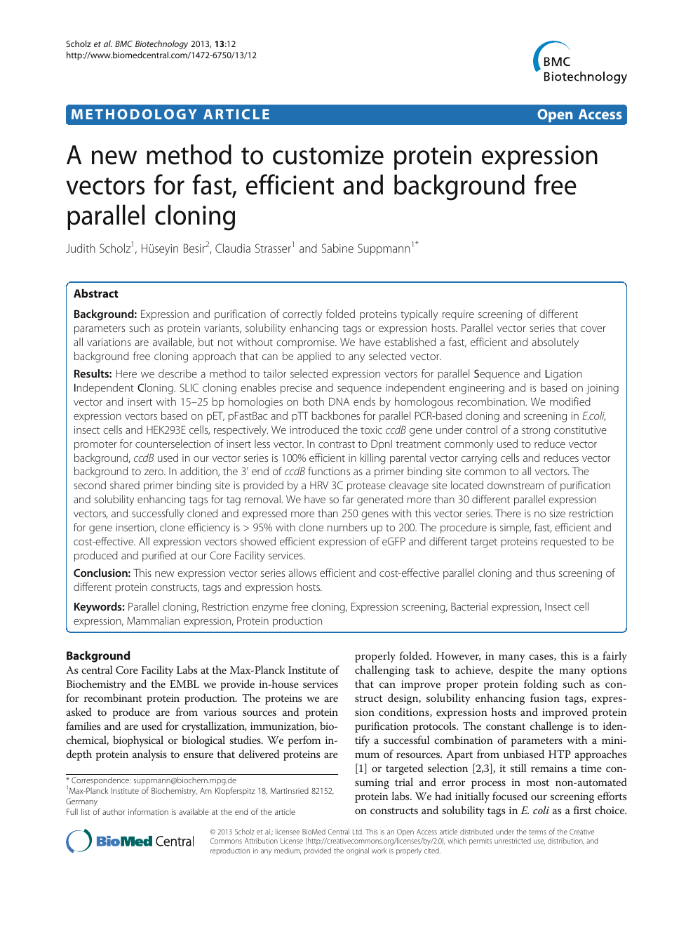 A new method to customize protein expression vectors for