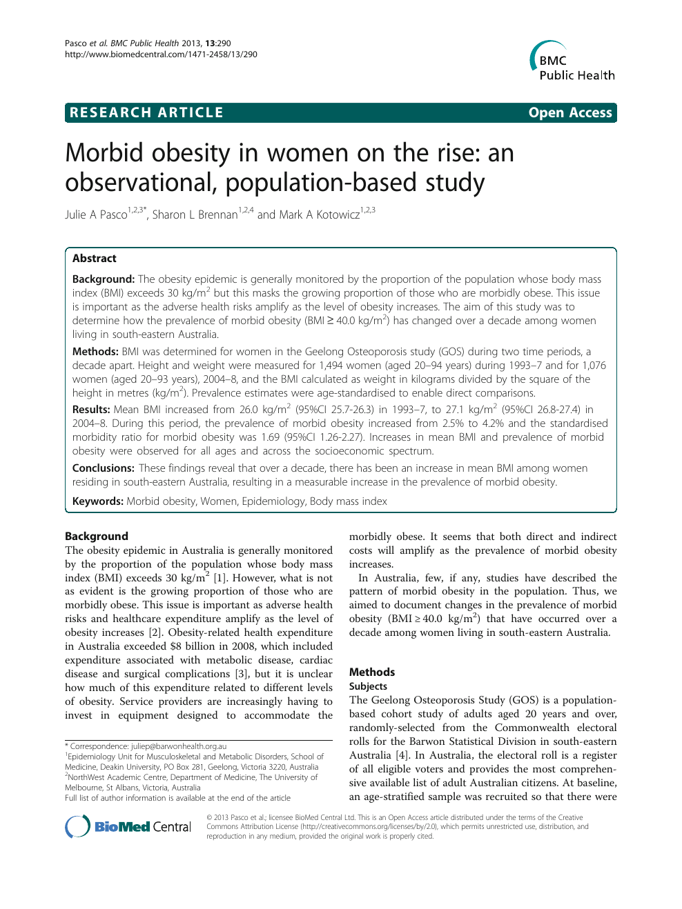 Morbid Obesity In Women On The Rise An Observational Population Based Study Topic Of Research Paper In Health Sciences Download Scholarly Article Pdf And Read For Free On Cyberleninka Open Science Hub