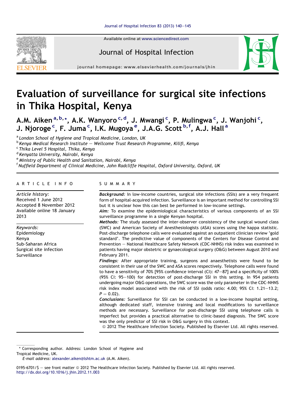 Evaluation of surveillance for surgical site infections in
