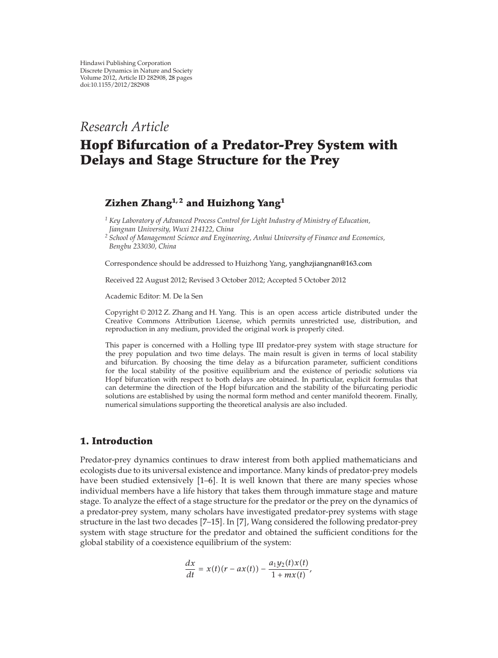 Hopf Bifurcation of a Predator-Prey System with Delays and Stage